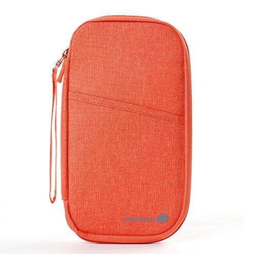 Travel Wallet - Passport Holder - RFID Document Organizer,Voerou Multi-Functional Fashion Ticket Passport Credit Card ID Document Organizer Holder Bag Purse Travel Pouch Case Cover (Orange)