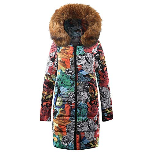 vermers Womens Winter Long Down Parka Hooded Coat, Ladies Fashion Printed Zipper Quilted Jacket Outwear(US:8/L, Brown)