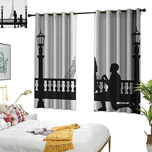 Warm Family Room Curtains Engagement Party,Paris Love Valentines City Wedding Proposal Future Happiness Image, Black and White 84