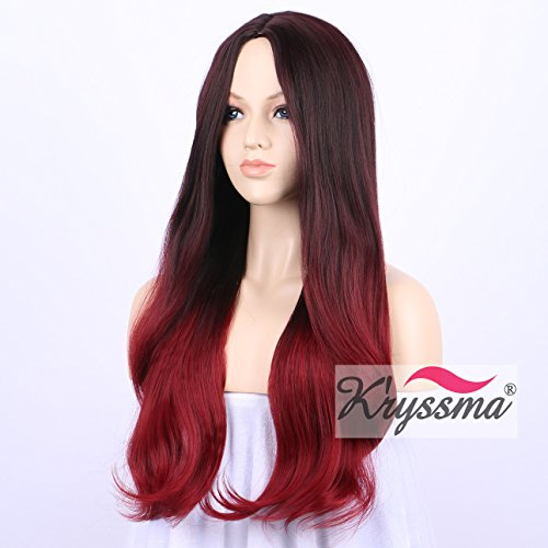 [K'ryssma Beautiful Looking Ombre Wine Red Synthetic Wigs for Women Mixed Color Dark Roots to Burgundy Long Natural Straight Glueless Full Machine Made None Lace Wig for Christmas 22] (Cheap Color Wigs)