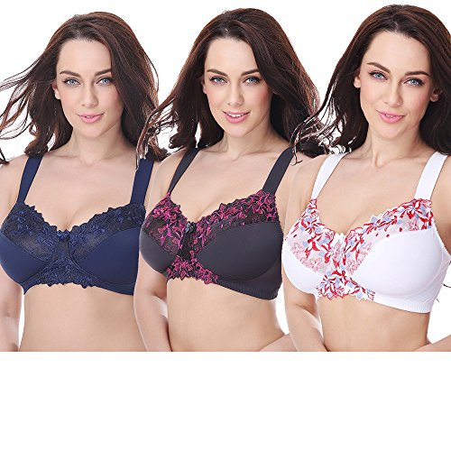 Mesh Plus Size Bra (Curve Muse Plus Size Minimizer Unlined Wirefree Bra With Lace Embroidery-3Pack-WHITE, Navy, GRAY-38DDD)