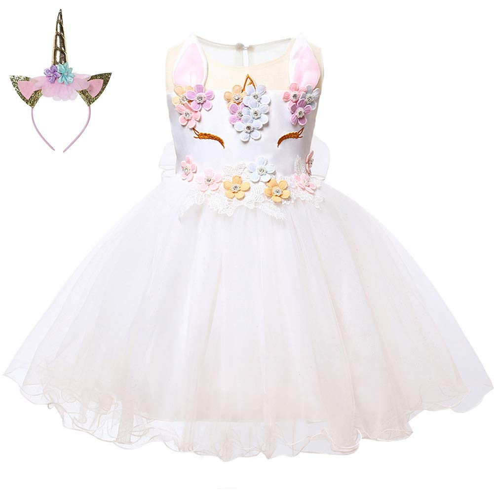 LZH Baby Girls Unicorn Dress Birthday Pageant Princess Costumes Rainbow Dress