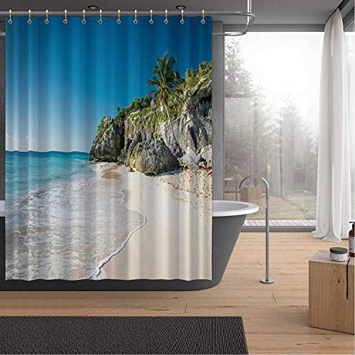 ALUONI White Tropical Beach in Tulum Yucatan Mexico Bath Curtains Shower,094939 for Hotel,72''W x 79''H