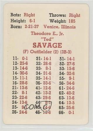 Amazoncom Ted Savage Baseball Card 1968 Apba Baseball 1967