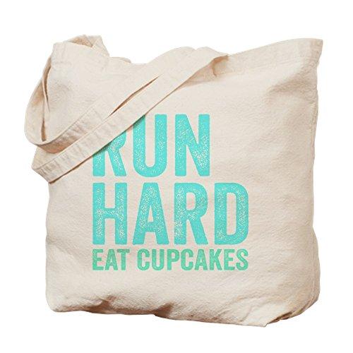 CafePress - Run Hard Eat Cupcakes - Natural Canvas Tote Bag, Cloth Shopping Bag