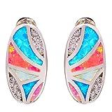 CiNily Rhodium Plated Blue Pink White Opal Zircon Women Jewelry Gemstone Stud Earrings 16mm