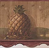 Vintage Pineapple Purple Berries Faux Carved Brown Wood Wallpaper Border Retro Design, Roll 15' x 10''