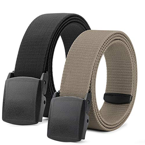 (Men Elastic Stretch Web Belt Casual Jeans Waist Belt Adjustable Plastic Buckle Outdoor Belt 44 Inch (4 Black/Khaki, Fit Pant 23-35in))