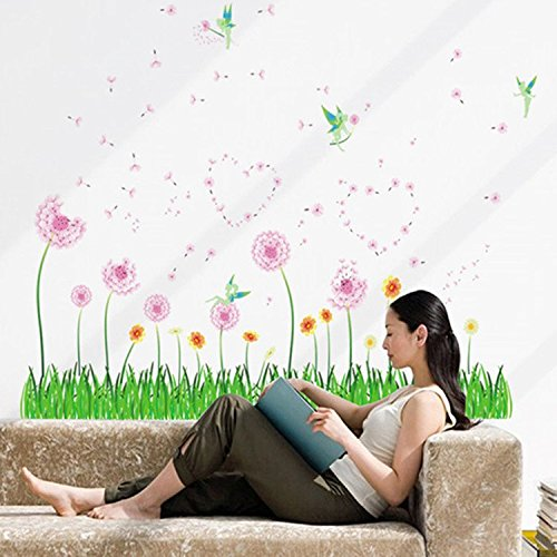 E-Love Wall Decal Mural Little Grass and Beautiful Flowers Removable Wall Stickers for Glass Door Cupboard Decor (Glass Buy To Where Vases)