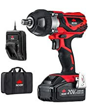 NoCry 20V Cordless Impact Wrench - 300 ft-lb (400 Nm) Torque, 2700 Max IPM, 2200 RPM, 1/2 Inch Anvil; 4.0 Ah Battery, Fast Charger, Belt Clip & Carrying Case Included