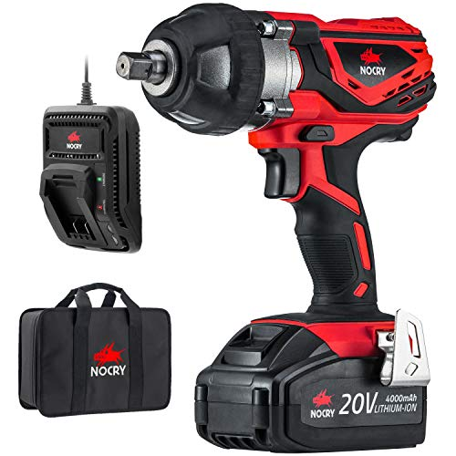 NoCry 20V Cordless Impact Wrench Kit - 300 ft-lb (400 N.m) Torque, 1/2 inch Detent Anvil, 2700 Max IPM, 2200 Max RPM, Belt Clip; 4.0 Ah Battery, Fast Charger & Carrying Case Included (Best Electric Impact Ratchet)