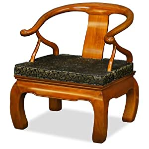 Hand Crafted Rosewood Chow Leg Monk Chair - Natural
