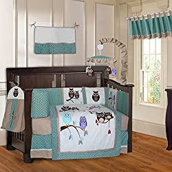 BabyFad Owl Turquoise 10 Piece Baby Crib Bedding Set for girls