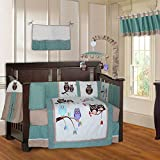 BabyFad Owl Turquoise 10 Piece Baby Crib Bedding Set