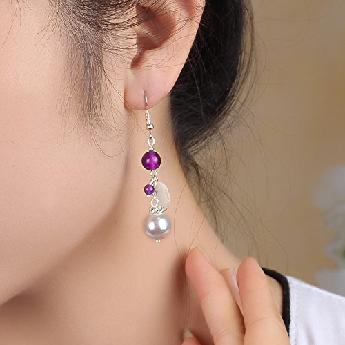 - TKHNE China Wind earrings women girls long section retro jewelry pearl earrings simple leaf purple chalcedony beads spring and summer palace earrings