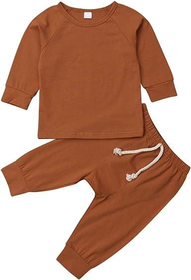 Greetuny 2pcs Recien Nacido Unisex Manga Larga Conjuntos Primavera Casual Algodón Pijamas Bebe, Colores, 0-24 Meses: Amazon.es: Ropa y accesorios