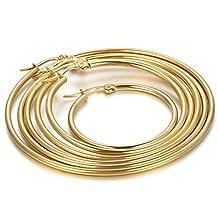Flongo Women's Stainless Steel Gold Big Large Round Plain Anti-allergy Hoop Loop Earrings