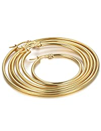 Flongo Women's Stainless Steel Gold Big Large Round Plain Anti-allergy Hoop Loop Earrings
