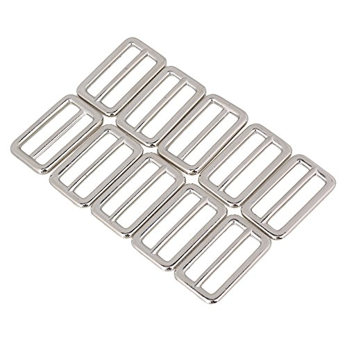 (BQLZR 3.1cm Silver Zinc Alloy Heavy Welded Triglide Slides Webbing Belts Buckle for Bags Accessories Pack of 10)