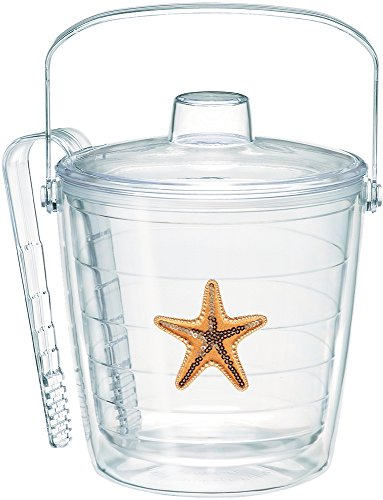 Tervis 1186555 Starfish-Sequin Insulated Tongs with Emblem Lid-Boxed, 87oz Ice Bucket, Clear (Ice Bucket Tervis)