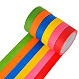 Bright Colored Masking Tape,6 Pack 1 inch 22 Yard Rolls Board Line Classroom Decorations Tape, Labeling,DIY Art Supplies for Kids