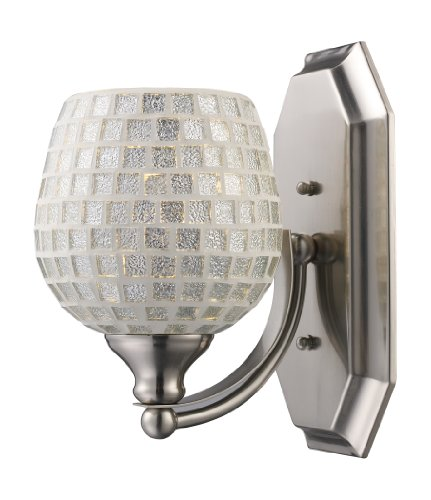 Elk 1 Light Vanity (Elk 570-1N-SLV 1-Light Vanity In Satin Nickel and Silver Mosaic Glass)