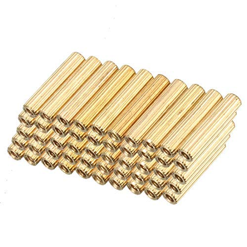50 pcs Brass Straight Round PCB Pillar Female Thread Separator Separator M2x3x14mm