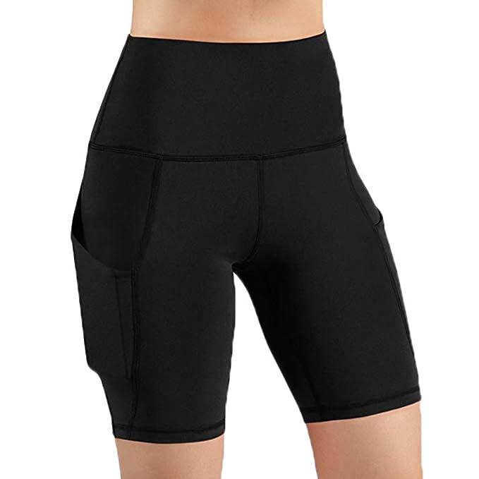 Amazon.com: Sunyastor High Waist Yoga Shorts with Pockets ...