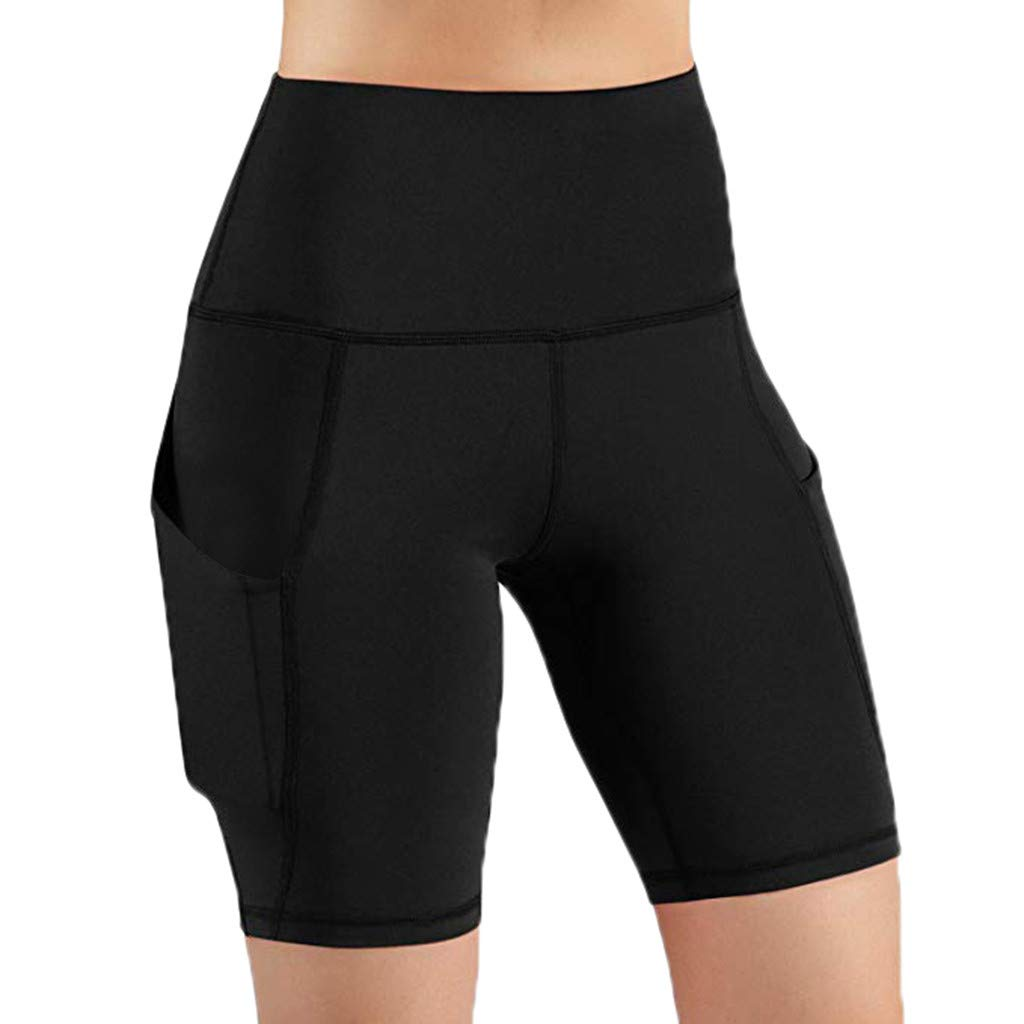 RUIVE Women's Shorts Exercise High Waist Side Pocket Leggings Casual Solid Colour Running Athletic Yoga Pants Black