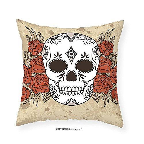 VROSELV Custom Cotton Linen Pillowcase Skull Skeleton Deathly Head with Floral Roses Leaves Image Artwork for Bedroom Living Room Dorm Black White Cocoa and Cinnamon 28