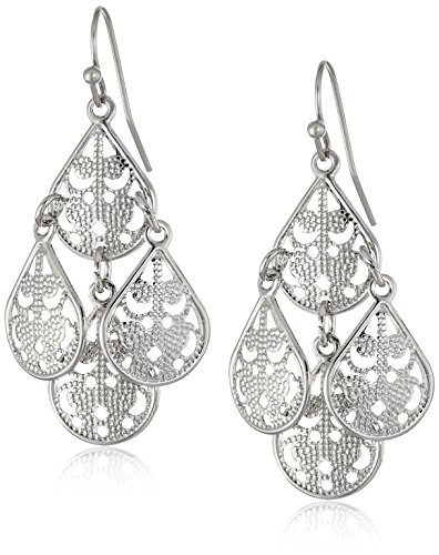 Textured Chandelier Earrings (1928 Jewelry Silver-Tone Filigree Chandelier Earrings)
