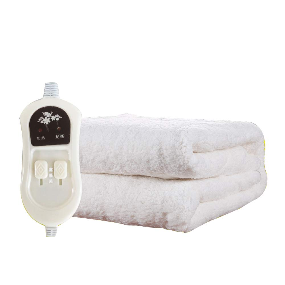Velvet plush Heated blanket,Queen size Electric throw Safety Radiation-free Water cycle Plush heated throw Dual temperature dual control Timing Dehumidification Mattress pad-White 150x180cm(59x71inch)
