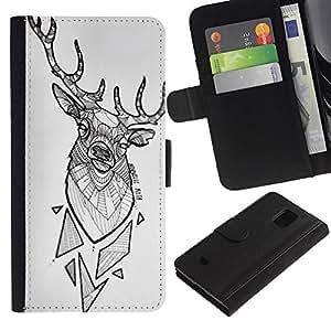 LASTONE PHONE CASE / Lujo Billetera de Cuero Caso del tirón Titular de la tarjeta Flip Carcasa Funda para Samsung Galaxy S5 Mini, SM-G800, NOT S5 REGULAR! / deer antlers white polygon pattern black