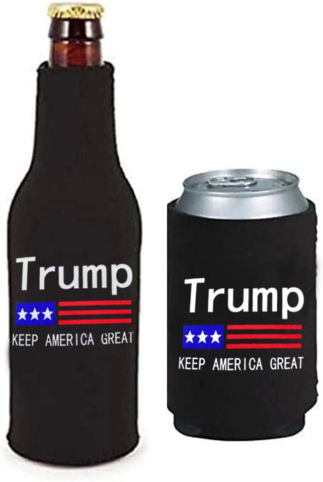 WENGUISP 2Pack Trump 2020 -Keep America Great- Can & Bottle Holder Insulator Beverage Cooler Set Neoprene Beer Bottle Cooler Sleeve with Zipper Sleeves for Trump 2020 (for Trump)
