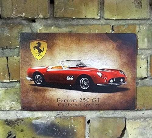 To243Finn Retro-Auto-Wanddekoration Ferrari 250 GT Retro Metallschild Man Cave Garage Klassisches Auto Retro Ferrari Dekor Garage Schild Garage Dekor