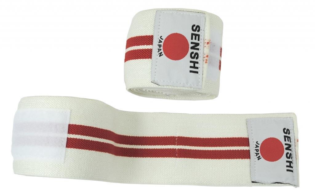 Weight lifting Bandage Straps Body Building Gym Training White Senshi Japan Knee Wraps