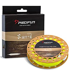 Piscifun Sword Fly Fishing Line with Welded Loop Weight Forward Floating Fly Line WF1 2 3 4 5 6 7 8 9 10wt 90 100FT, Fluorescent Yellow, WF-1F 90FT