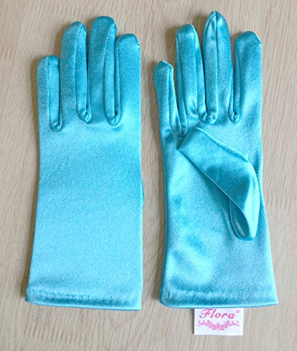 Aqua assorti femme Short Disney pour en Gants Length Blue in la satin Frozen Cendrillon elsa robe magique 7wfTAq0