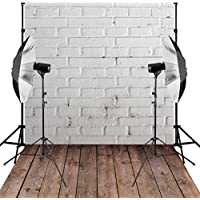 Kooer 5X7ft Photography Backdrops White Brick Wall Wood Floor theme Vinyl Fabric Backdrops for Studio Props
