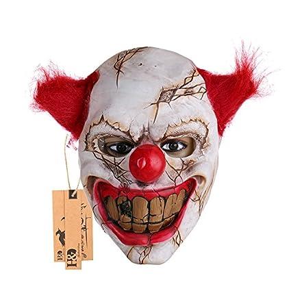 Máscara de payaso asesino con el pelo rojo, para Halloween