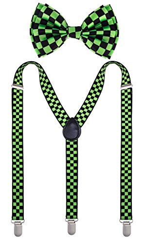 Man of Men - Bowtie & Suspender Set - Patterned Colors (Black & Green Checkered)