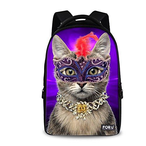 For U Designs Large Purple Luxury Cat Animal Design Backpack School Bag for Girls