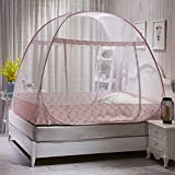 Can You Get Bigger Than a King Size Bed KQCNIFVNKLM Mongolian mosquito net,Foldable dormitory bed canopy portable folding mosquito net tent freestand bed 1 2 openings-A King