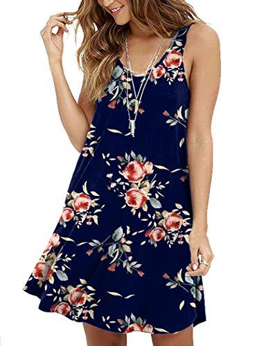 MOLERANI Women's Floral Sleeveless Loose Plain Dresses Casual Short Dress Rose Navy Blue S (Best Dress Websites For Juniors)