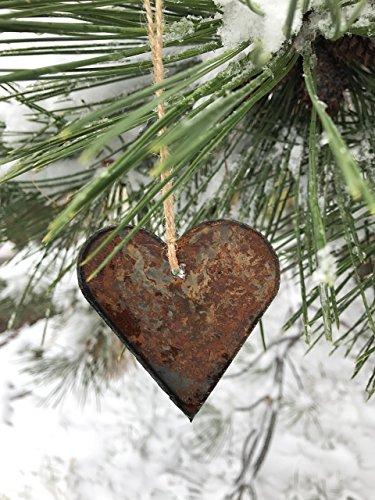Rusty Heart (Single or Set of 3...Rusty Metal HEART Ornament(s) - Rustic - 4
