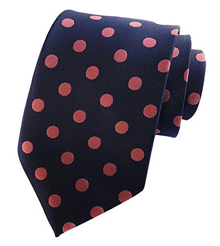 Secdtie Men's Navy pink Polka Dot Silk Cravat Woven Jacquard Casual Ties Y013