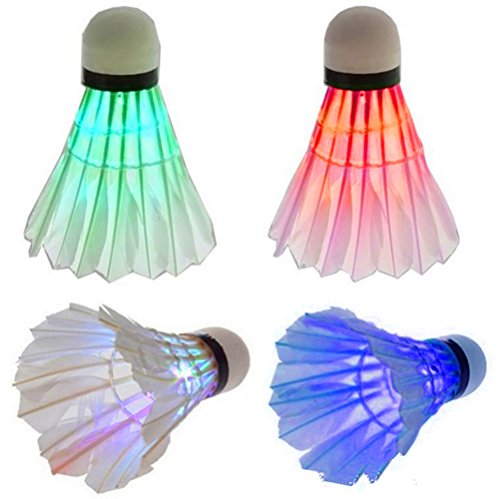 IFLYING Colorful LED Badminton for Dark Night Outdoor and Indoor Sports Activities - 4 Pieces