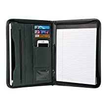 TYSON Padfolio Portfolio Leather Zippered Writing Pad with Pockets and Card Holders for Resume Document and Notebook, 12.9 Inch (Atrovirens)