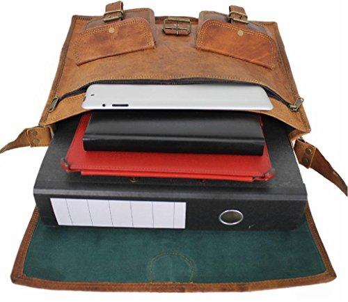 Leatherworld Damen Herren Echt-Leder Tasche Aktentasche Arbeitstasche Notebooktasche Laptoptasche 15 16 17 Zoll DIN A4 Umhängetasche Dokumenten-tasche Büro aus hochwertigem Leder Vintage braun LT021Z