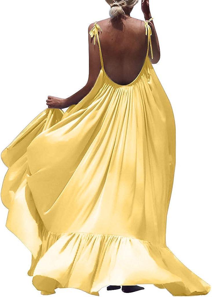 Sleeveless Women Boho Solid Long Backless Dress Maxi Dresses Evening Party Beach Dress